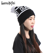 Diamond Letter Ball Cap Pom Poms Beanie Knitted Hat Popular Beanies Men And Women Winter Knit Letter 4 Colors Female Cap(China)