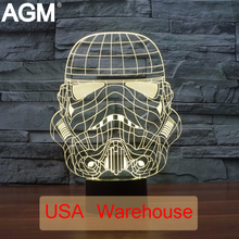 Star Wars 3D Desk Lamp Touch Table lamp 7 Color Changing Troop Dogs Soldiers 3D LED 3D Night Lights For Kids 3D NightLights Dec