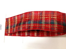N1042 38mm X 25yards Golden Lurex Lines Red Wired Scottish Ribbon. Gift Bow,Wedding,Cake Wrap,Tree Decoration,Wreath