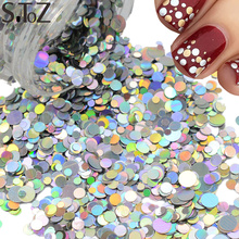STZ Nail Art Decorations Laser Silver Dazzling Mixed 1/2/3mm Round Slice Paillettes  Spangle 3d Nail Sticker Beauty Glitter P36