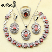 Red Garnet White Zircon Princess Wedding Jewelry Set 925 Sterling Silver Women Earrings Ring Necklace Pendant Bracelet(China)