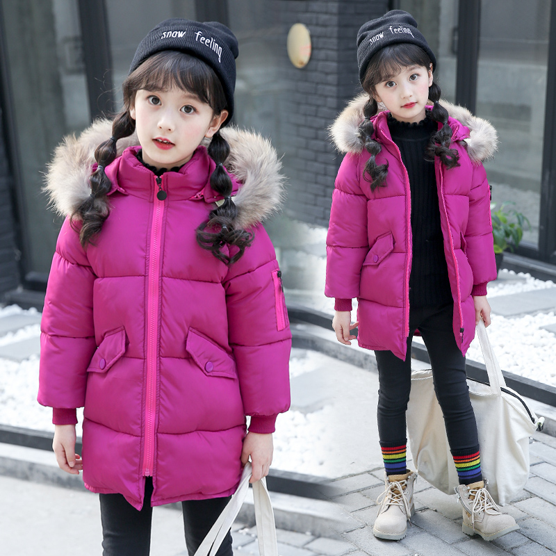 Fashion Cotton Girls Jacket 2017 Winter Jacket For Girls Coat Kids Warm Fur Hooded Outerwear Coat Children Jacket Girls Clothes<br>