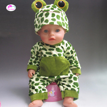 Clothes for dolls fits 43 cm Baby Born zapf doll Cartoon frogs crawling clothes for Children's gifts(China)