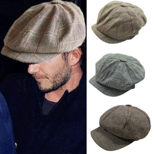 Painters Beret Hat Newspaper-Caps Navy Plaid Chic Korean Vintage Spring Octagonal Men title=