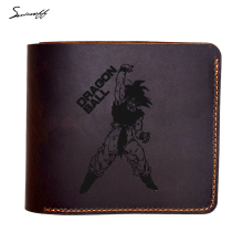 Genuine Leather Wallet laser engraved Dragon Ball Z Wallet Son Goku Cartoon Slim Wallet Purse Short Leather Wallet for Men(China)