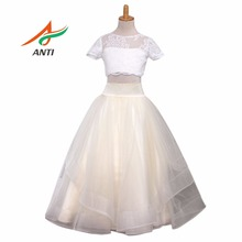 ANTI 2017 Flower Girl Dresses Scoop Short Vestidos De Primera Comunion White And Yellow Children Kids Frock Designs Girls cfg(China)
