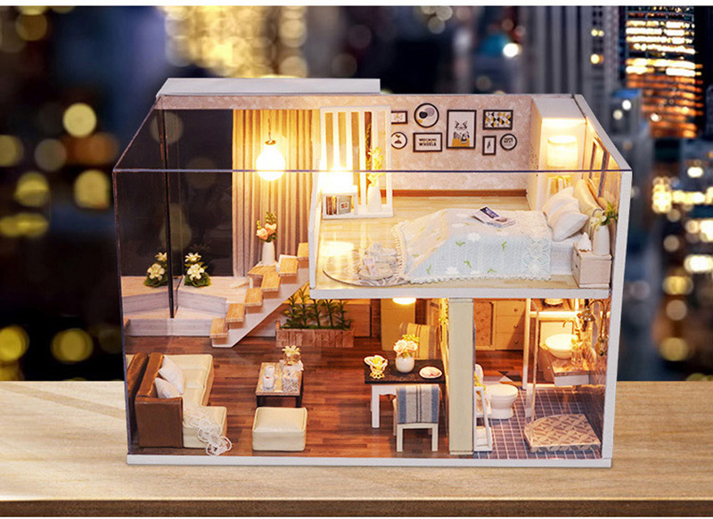 Wooden Miniature DIY Doll House Toy Assemble Kits 3D Miniature Dollhouse Toys With Furniture Lights for Birthday Gift L020 - Waiting Time (2)