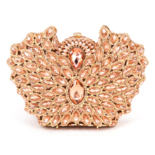 Champagne Clutch Bag Crystal Encrusted Bags Women Wedding Diamond Evening Bag Holiday Ladies Party Purse pink peacock shape 443
