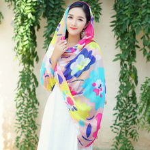 Women Beach Towel Tunic Colorful Flower Mask Wind Luxury Shawl Winter Scarf Gifts New Year Stoles Beautiful Cheap Blanket Wraps(China)