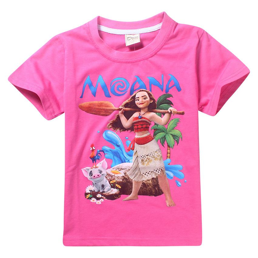 Maui Moana little girl t shirts cartoon character printing t-shirt girls clothing kids Cute pattern costumes 4 6 8 10 12 years 13