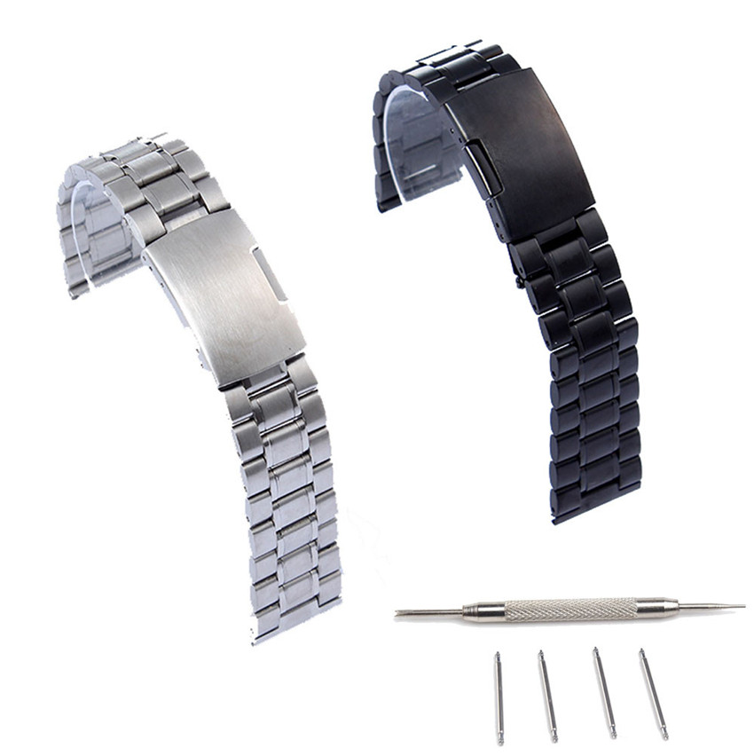 22mm Black Silver Stainless Steel Watch Strap Band For Pebble Time Smart Watch+Tool Replace Watchband Accessory<br><br>Aliexpress