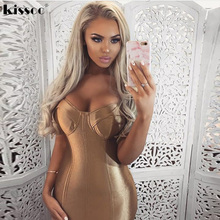 2017 Sexy Padded Bra Bodycon Midi Dress V Neck Sleeveless Split Back Cross Straps Gold Wine Red Knee length Party Dress(China)