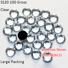 Big Package 100 Gross 16 Facets Most Popular Size 5mm SS20 Clear Crystal DMC Heat Transfer Iron On Dress Crafts Rhinestones