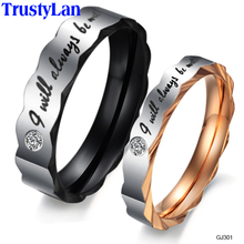 TrustyLan Engagement Gold Color Couple Ring His And Hers Promise Ring Sets Wedding Male Ring Gift 1 Piece Retail Big Size 11 12
