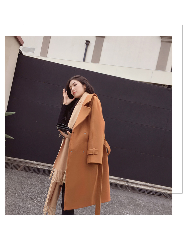Mishow 19 autumn and winter woolen coat female Mid-Long New Korean temperament women's popular woolen coat MX17D9636 33