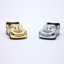 2pcs/Lot Disney Pixar Cars No.95 Lightning Mcqueen Gold Silver Chrome Diecast Metal Toy Car For Children 1:55 Loose Brand New