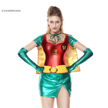 Charmian Halloween Costume for Women Sexy Robin Super Hero Anime Cosplay Carnival Party Fantasias Feminina Para Festa(China)
