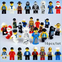 Smartable 16pcs Building Blocks Figures brick DIY toys Compatible Legoing Figures LEPIN fireman Santa Claus Police cowboy
