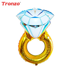 Tronzo 1Pcs 84*54CM Gold Diamond Balloon For Wedding Decoration Bride Ring Bollons Foil Marriage Globo Bridal Shower Anniversary(China)