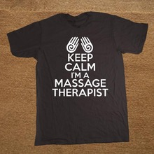 T Shirt Men's O Neck Casual Short Sleeve Keep Calm I'm Massage Therapist Tee Shirts T-shirt(China)