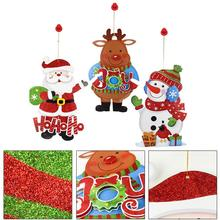 Christmas Tree Ornaments Elk Snowman Santa Claus Display Window Wall Door Stickers Cartoon Pendants Hanging Decor for Christmas