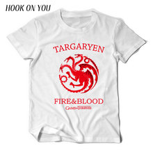 2017 Summer Fashion Game of Thrones Men T Shirt Dragon Wolf Brand House Stark Winterfell 100%Cotton T-Shirt Cool Short Tops Tees