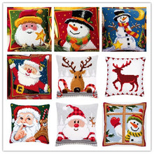 Cross Stitch Pillow Mat DIY Craft Christmas 42CM by 42CM Latch Hook Kit Needlework Crocheting Cushion Embroidery(China)