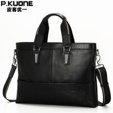P.KUONE Best Selling Genuine Leather Business Shouder Bags Fashion High Quality Briefcases Messenger Travel Handbag Laptop Bag(China)