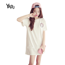 YAPU 2017 Korean casual loose cute cartoon short-sleeved T-shirt was thin large size fat mm dress children