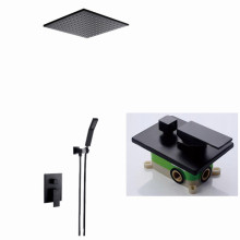 Free shipping Embedded Box Brass matte Black 8 inch Shower Set Bathroom Faucet Ceiling Wall Arm Diverter Mixer BL585(China)
