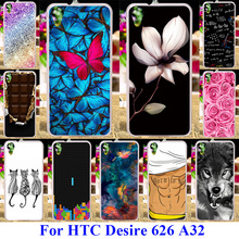 AKABEILA Soft TPU Plastic Phone Cases For HTC Desire 626 628 650 626w 626D 626G 626S Covers Skin Rose Flower Butterfly Bags