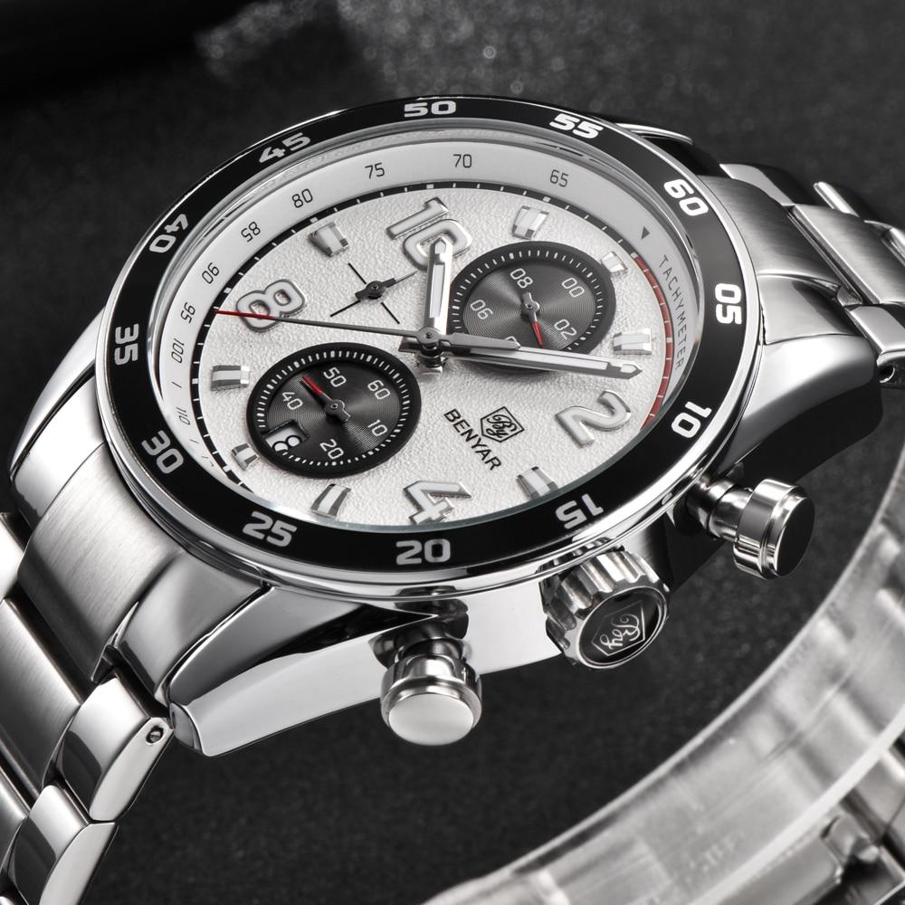 2018 BENYAR Top Brand Stainless Steel Luminous Hands Waterproof Sports Chronograph Quartz Mens Watch Luxury Clock Dropshipping<br>