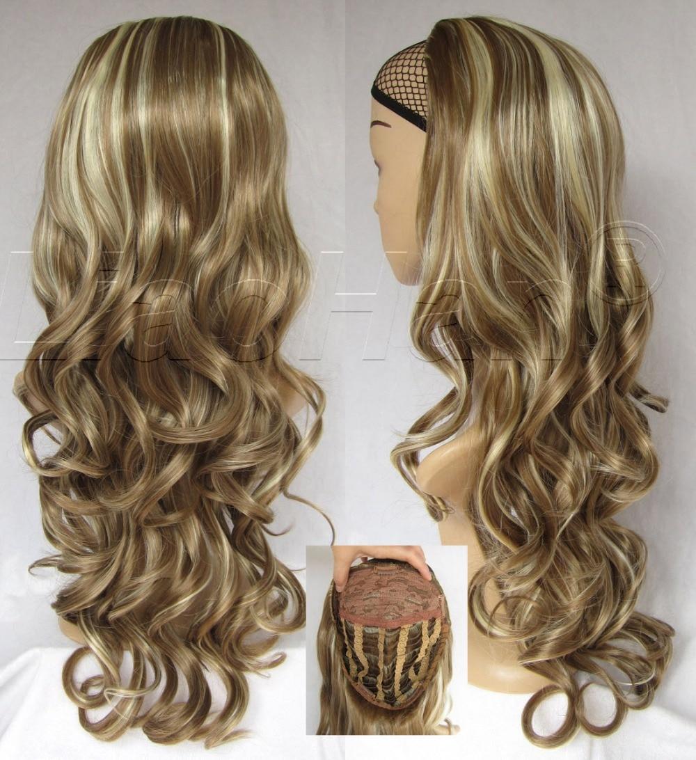 Women Fashion Wig 3/4 Half Wig Fall Long Curly Hair Fall Highlights Brown Mixed Blonde Wig #18H613<br><br>Aliexpress