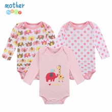 100% Cotton Baby Bodysuit 3pieces/lot Autumn Newborn Cotton Body Baby Long Sleeve Underwear Next Infant Boy Girl Pajamas Clothes(China)