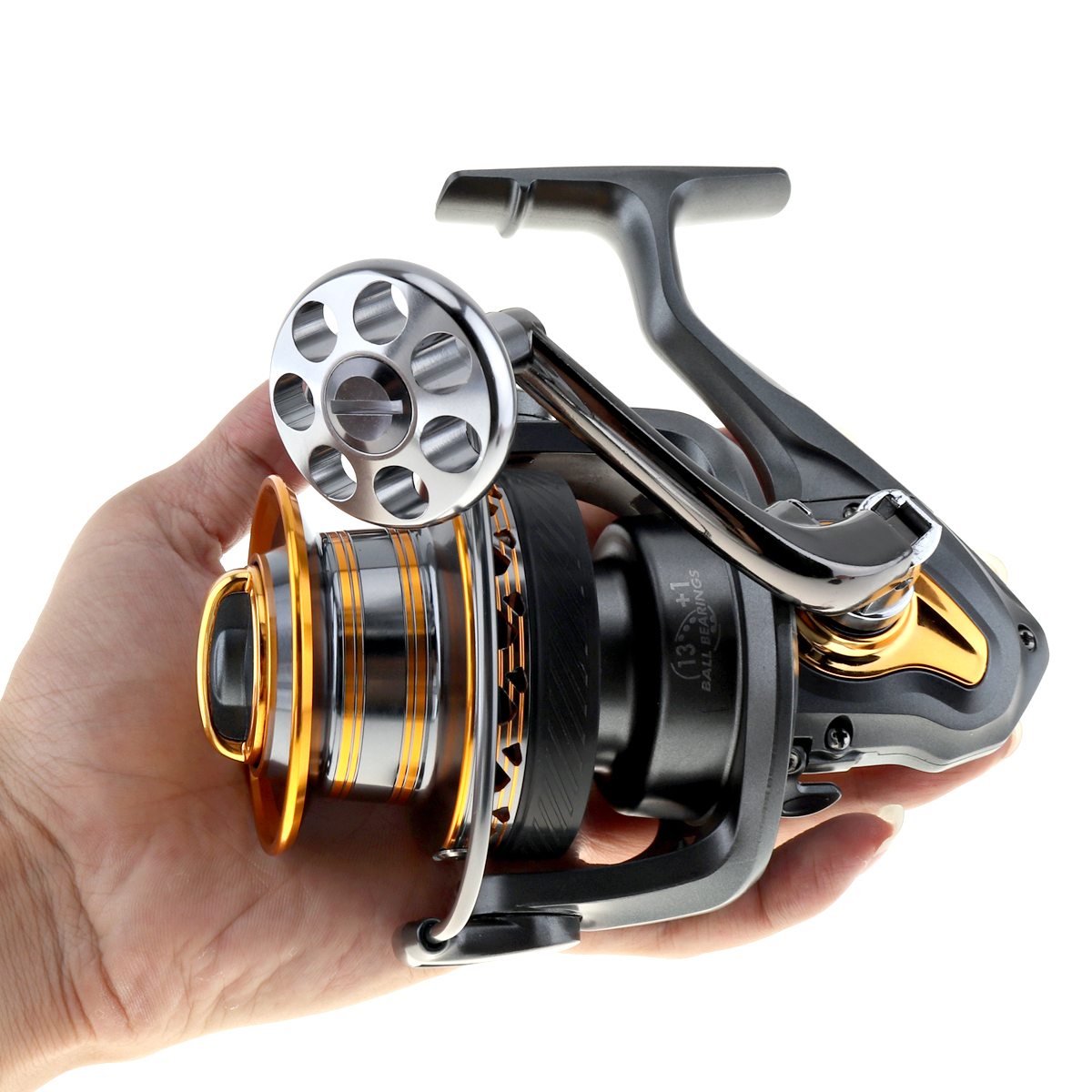 FDDL Aluminum Spool Spinning Fishing Reel 6000/7000 Series 13+1 Ball Bearings Long Distance Surfcasting Reel with Metal Handle<br>