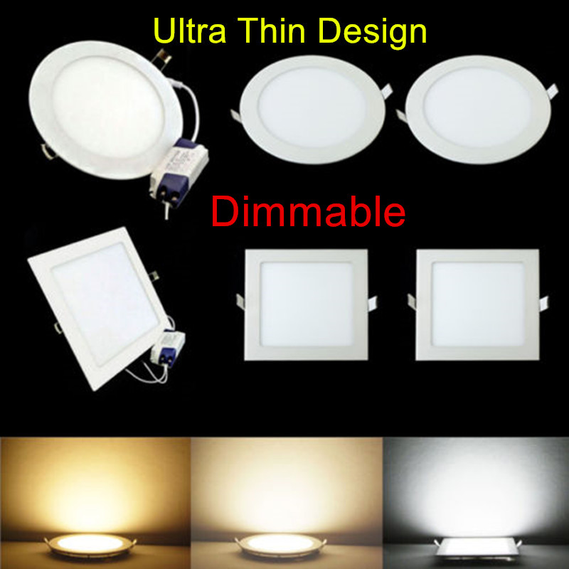 Round/Square Ultra thin design led indoor light 3W/4W/6W/9W/12W/15W/25W Dimmable led downlight Recessed LED Panel light 110/220V(China)
