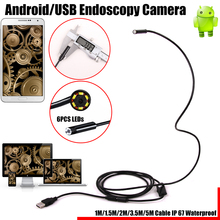 2 in 1 5.5mm Lens 6 LED Android USB Waterproof Endoscope Camera Borescope Inspection Camera with 1m/1.5m/2m/3.5m/5m Length Cable(China)