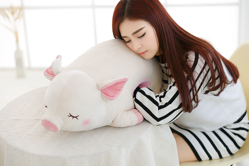 new plush pig toy pillow stuffed white cute pig hand warmer doll gift about 60cm<br>