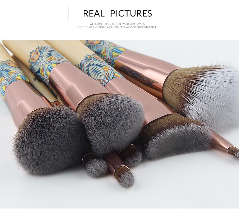 Nouveau Maquillage Brosses 12 pcs Ensemble En Bambou Make Up Brosse Souple Synthétique Collection Kit avec Poudre Contour Fard À Paupières Sourcils Brosses 6