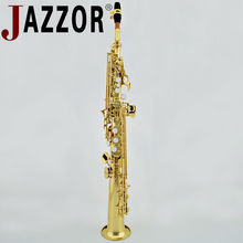 JAZZOR JBSST-400 Professional Soprano Saxophone B Flat straight soprano saxophone Gold Lacquer Brass wind instruments with case(China)