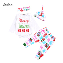 Xmas Toddler Infant Baby Girls Christmas Clothes Set 4Pcs Bowknot Headband+Cute Hat+Snow Top+Cartoon Gift Box Pants Outfits(China)