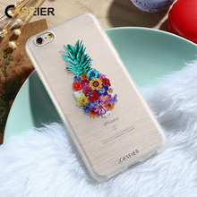 CASEIER Embossed Case For iPhone 7 6 6s Plus 5 SE Flowers Pineapple Watermelon Ice Cream Silicone For Samsung S6 S7 Edge Cover(China)