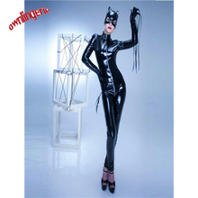 Buy Zentai Catsuit Costumes Type Costumes Product Type sexy tight leather catsuit,faux latex wetlook overalls cat mask