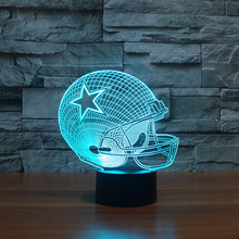 NCAA Football Team Dallas Cowboys Neon Signs Football Helmet 3D Color Changing Visual Lamp Bedroom Nightlight Gift(China)