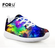 FORUDESIGNS Galaxy Comfortable Running Sneakers for Boys Sport Athletic Outdoor Shoes Flat Lightweight Space Design Shoe for Kid