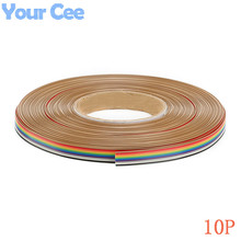1 meter 1.27mm Spacing Pitch10 WAY 10P Flat Color Rainbow Ribbon Cable Wiring Wire For PCB DIY 10 Way Pin(China)