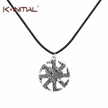 Kinitial 1Pcs Black Leather Falcon Kolovrat Amulet Pendant Slavic Kolovrat Amulet Pagan Pendants Slavic Pendant Necklace Jewelry
