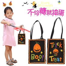 1pcs Trick or Treat Pumpkin Halloween Gift Bag with Handle Tote Bags Festival Packaging Bags Kids Candy Bag Decoration