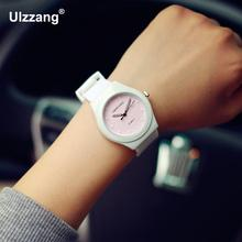 Hot Sale Jelly Silicone Rubber Candy Quartz Watch Wristwatches for Women Girls Students Pink White(China)