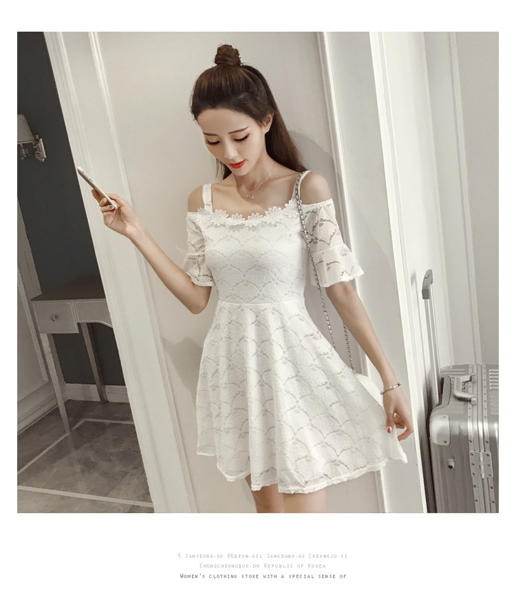 18 New fashion women summer lace sexy dress white Korean style clothes for womens vestido de festa mini white clothings 8